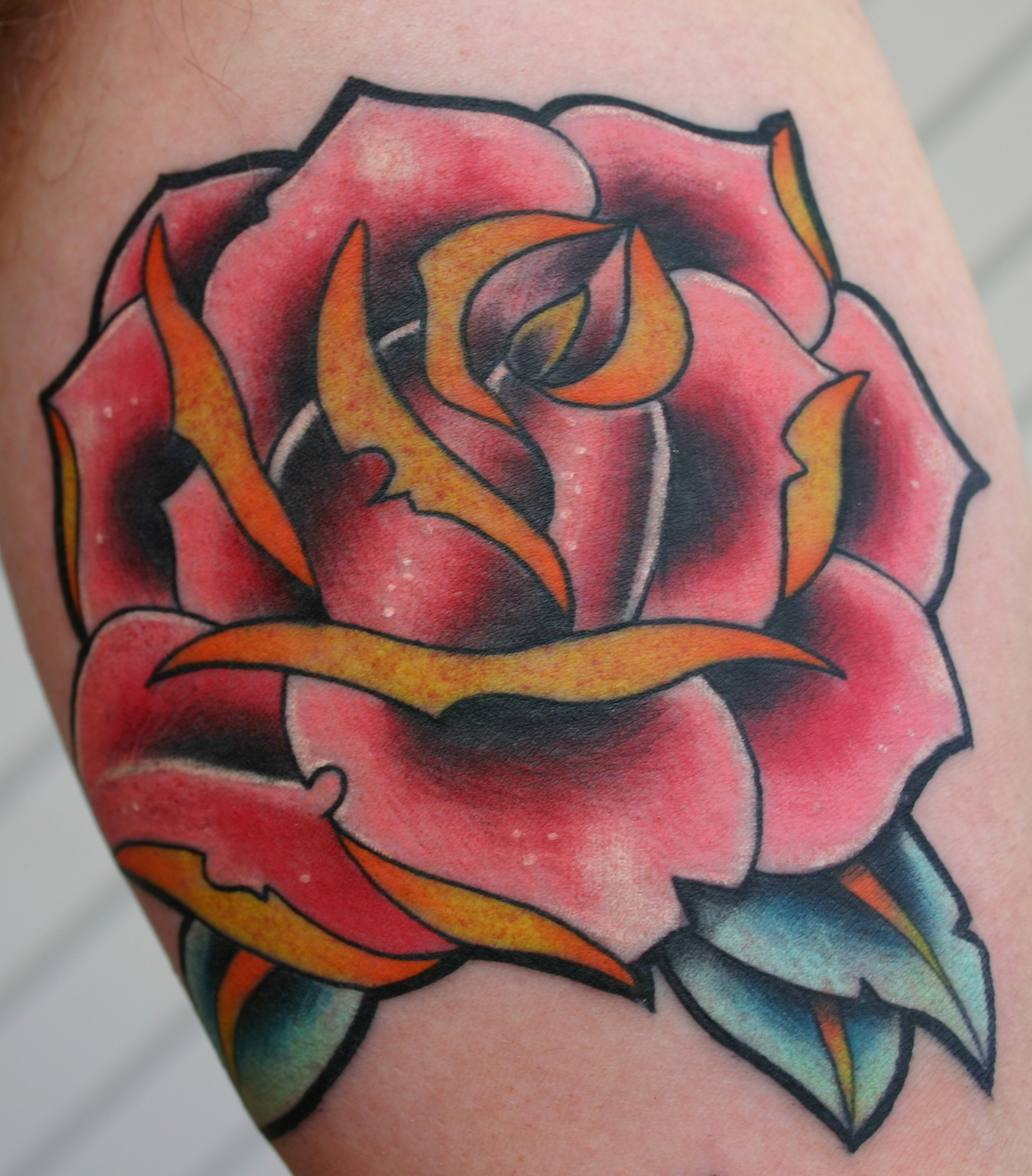 New School Rose Tattoo Design